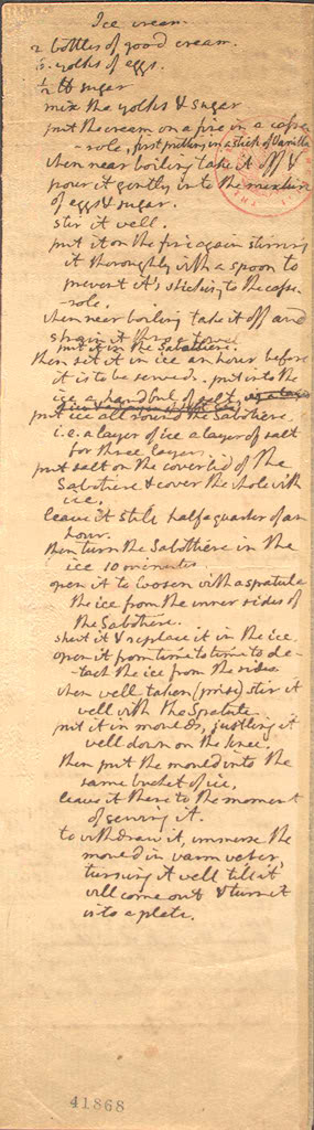 Jefferson's recipe for vanilla Ice Cream