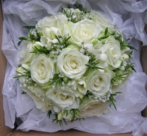 Rosemary and Roses Wedding Bouquet